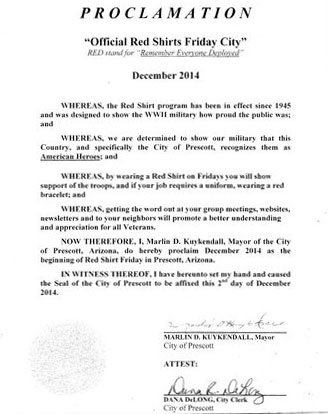 Red Shirt Fridays Proclamation